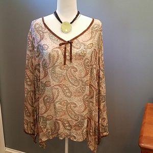 Sheer paisley print tunic